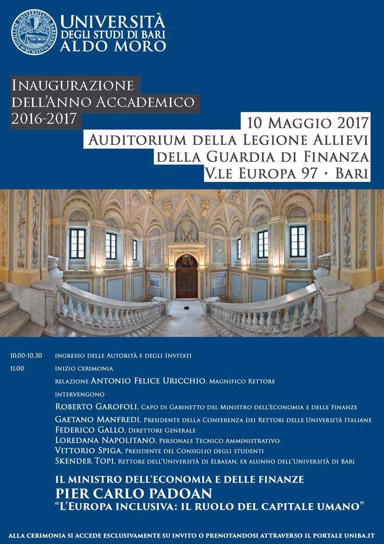 Inaugurazione dell'anno accademico 2016-2017 @ Auditorium Legione Allievi GdF - Bari | Bari | Puglia | Italia