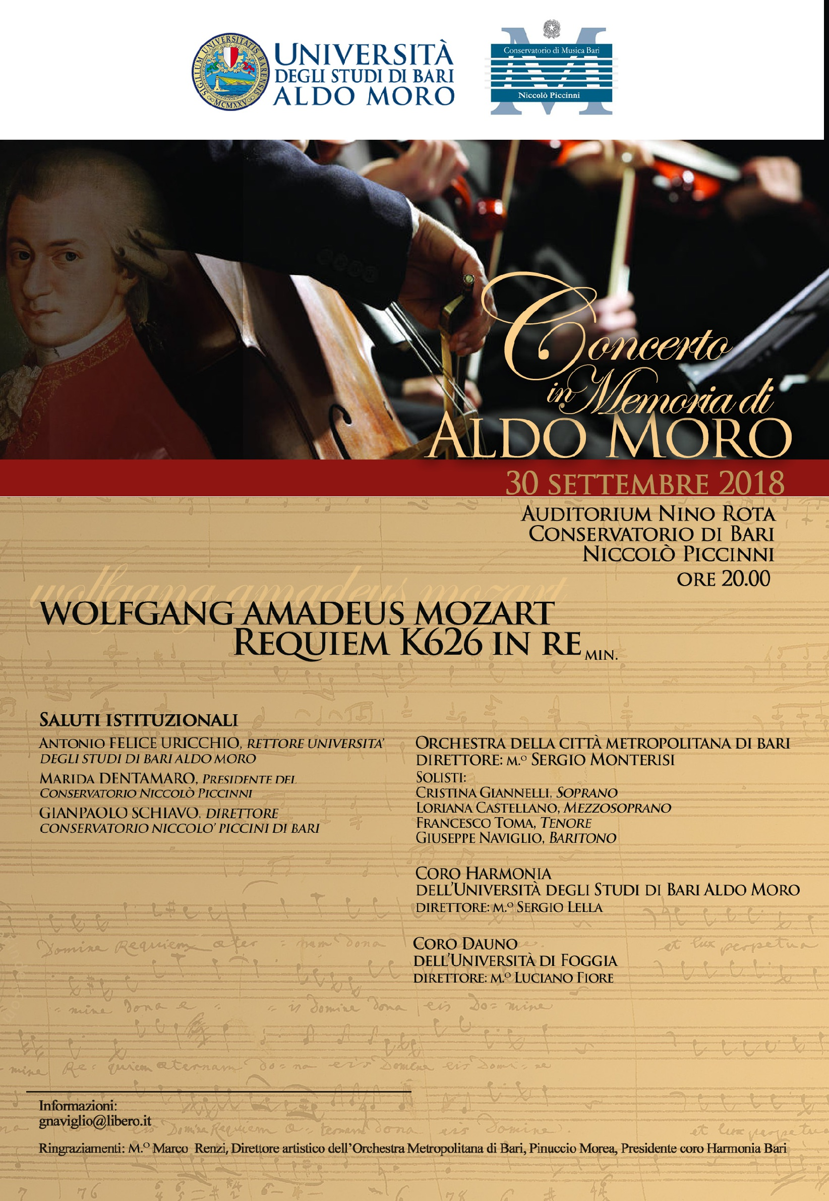Concerto in memoria di Aldo Moro @ Auditorium Nino Rota - Conservatorio di Bari Niccolò Piccinni | Bari | Puglia | Italia